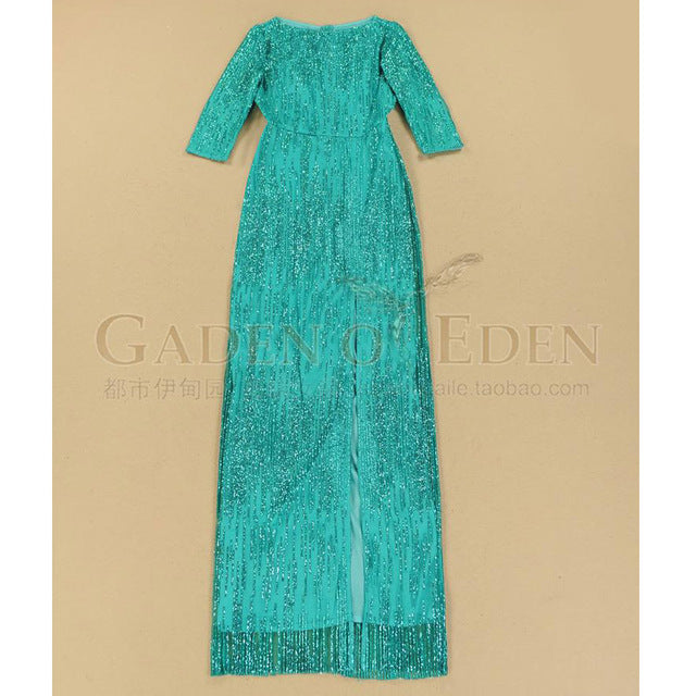 bright color cyan glitter sequin dress high quality luxury womens