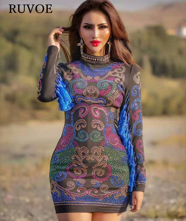 2017 Winter Cocktail Bodycon Sequins Dress Women Royal Blue Luxury