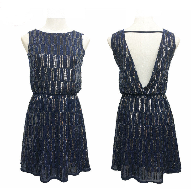 New Fashion Sequins Dress Women Summer Style Midi Dress Sexy Tank