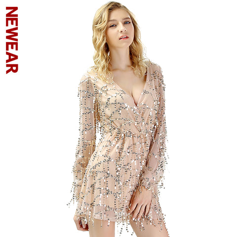 NEWEAR Autumn Women Sexy Party Dress Fashion Tassel Sequins Dresses Female Long Sleeve V-Neck Club Short Dress Vestido