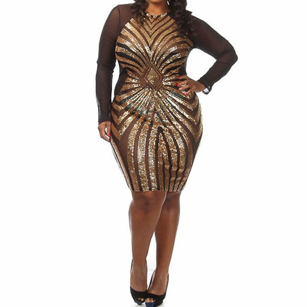 XL XXL XXXL Plus Size Women Sequin Dress Long Sleeve O-Neck