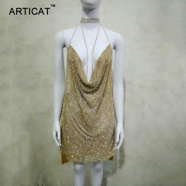 Articat Sexy Backless Gold Silver Sequin Party Dresses Deep V Neck