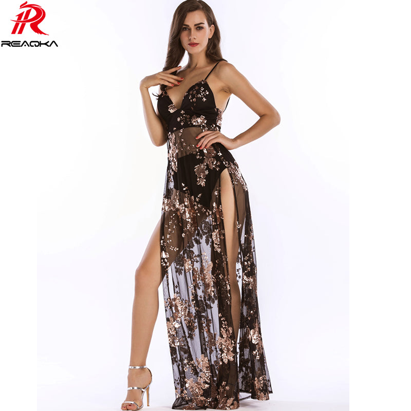 Luxury Sexy Women Empire Long Sequins Dress See Through V-neck High