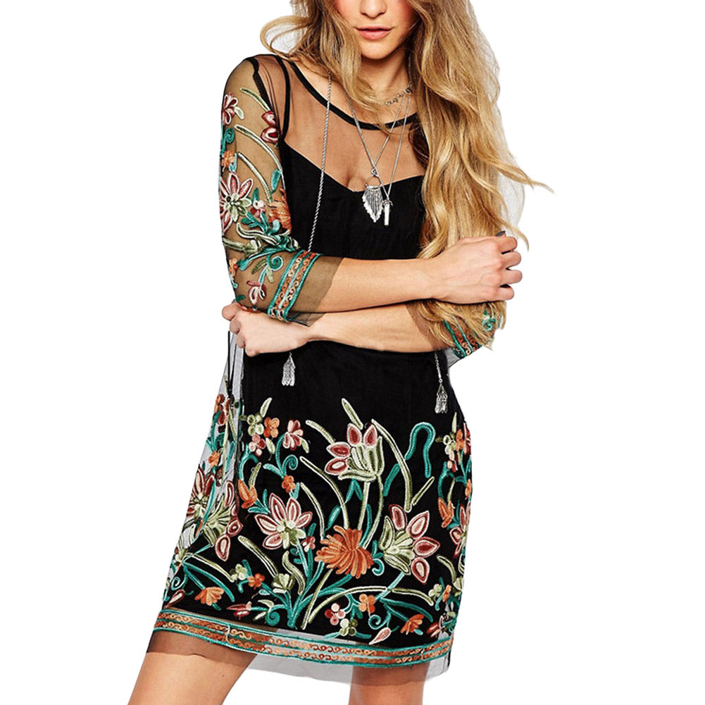 2017 Autumn Women Floral Embroidery Lace Mesh Dress Sexy See Through