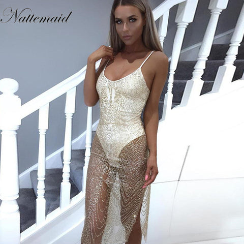 NATTEMAID Dancing party dress Summer dresses Sexy sleeveless V-neck Silver sequin bodycon vestido party night wear *Large Stock*