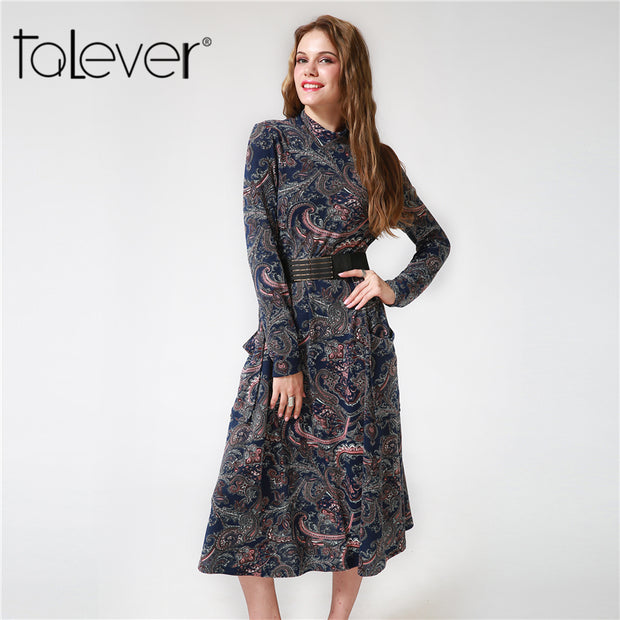 2017 Winter Autumn Women Casual Cashew Flowers Print Dress Brief