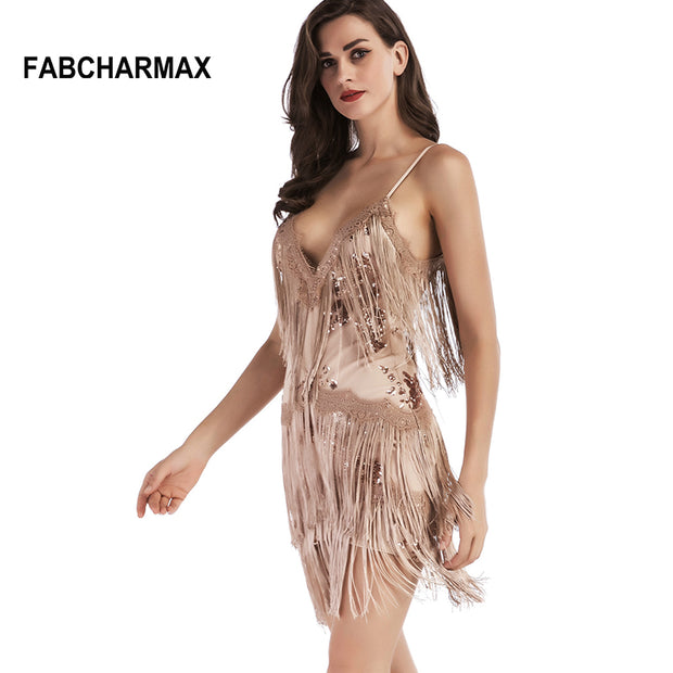FABCHARMAX 2017 chic fringe women dress sexy sequined tassels sling