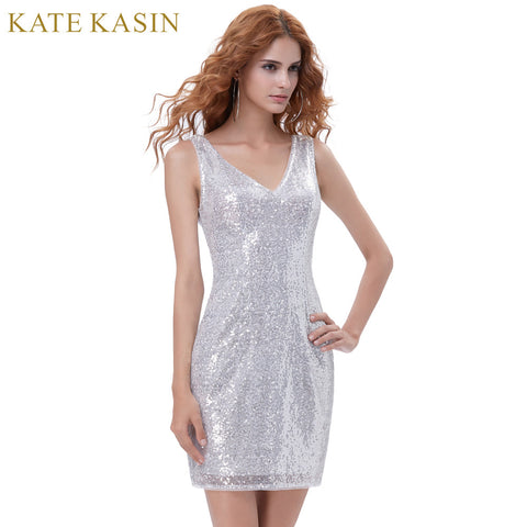 Kate Kasin Sexy Women Pencil Dress 2017 Big Size Tank Silver Office Party Dress V-Neck Sequined Dress Sleeveless Slim Mini Robe