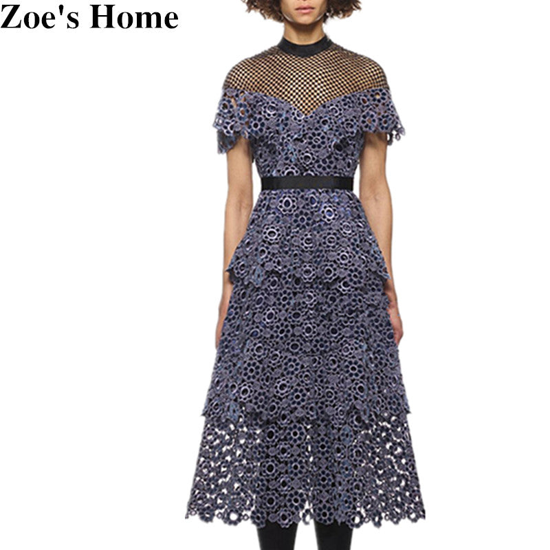 High Qality Runway Style self-portrait Lace hook flowers dresses