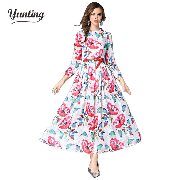 2017 S-2XL Vintage Flowers  Dress Plus Size Women Clothing Long Sleeve