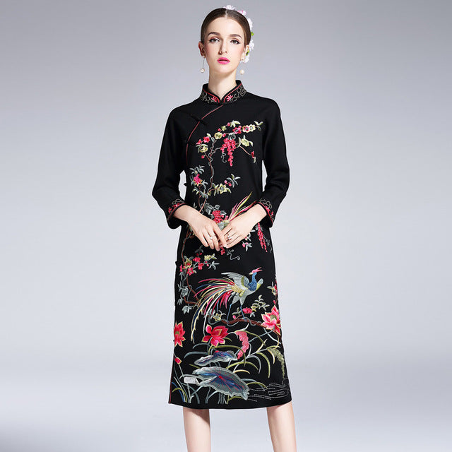 2017 NEW luxury spring Autumn Vintage Long flower dress Women Clothing