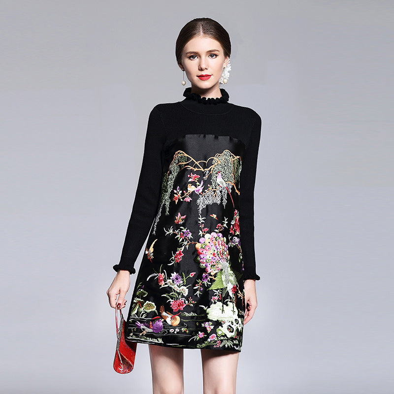 2017 NEW spring Autumn Embroidery dress short S XXL Women Clothing