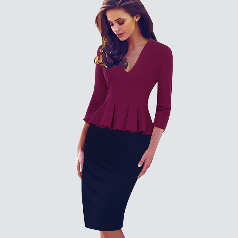 Women Elegant Sexy V Neck Peplum Sheath Bodycon Slim Pencil Dress