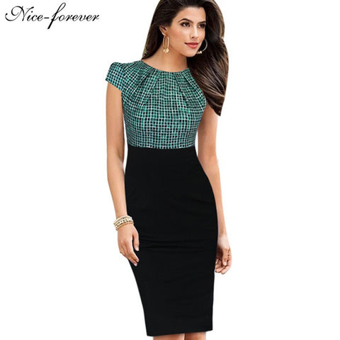 Nice-forever New Print Stylish Elegant Casual Work Ruched Cap Sleeve Gather O-Neck Bodycon Knee Women Office Pencil Dress B316 - Monika's Dresses