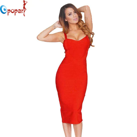 new 2016 women sexy celebrity midi red white hl elastic bandage dress spaghetti strap club bodycon party dress wholesale HL434 - Monika's Dresses