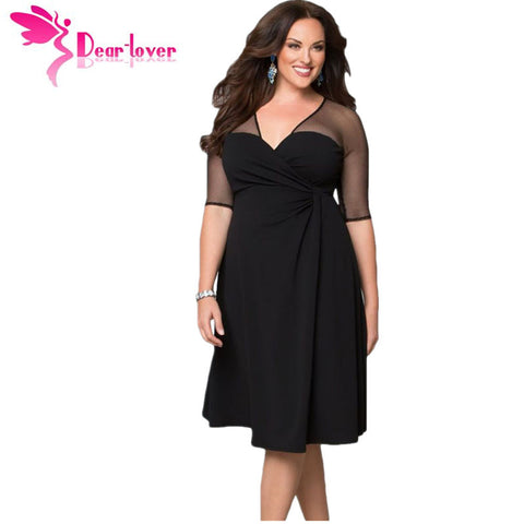 Dear Lover Plus Size XXL Women Fashion Half Sleeve Work Wear Sugar and Spice Dress cozy vestidos autumn dress big sizes LC60671