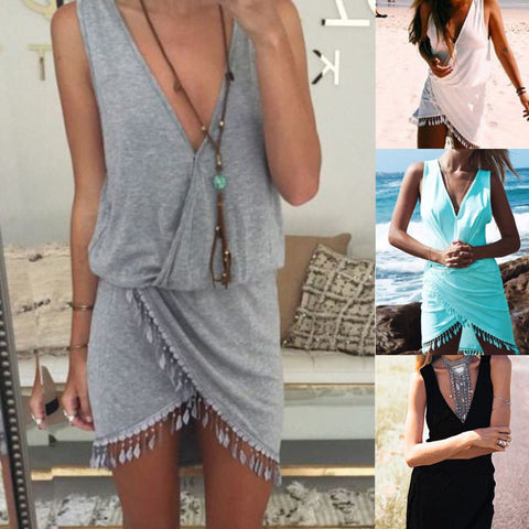 Plus Size Sexy Ladies Casual Sleeveless Short Mini Dress Summer Printed ttassel sexy halter dress Mini V-Neck Tassel Dresses - Monika's Dresses