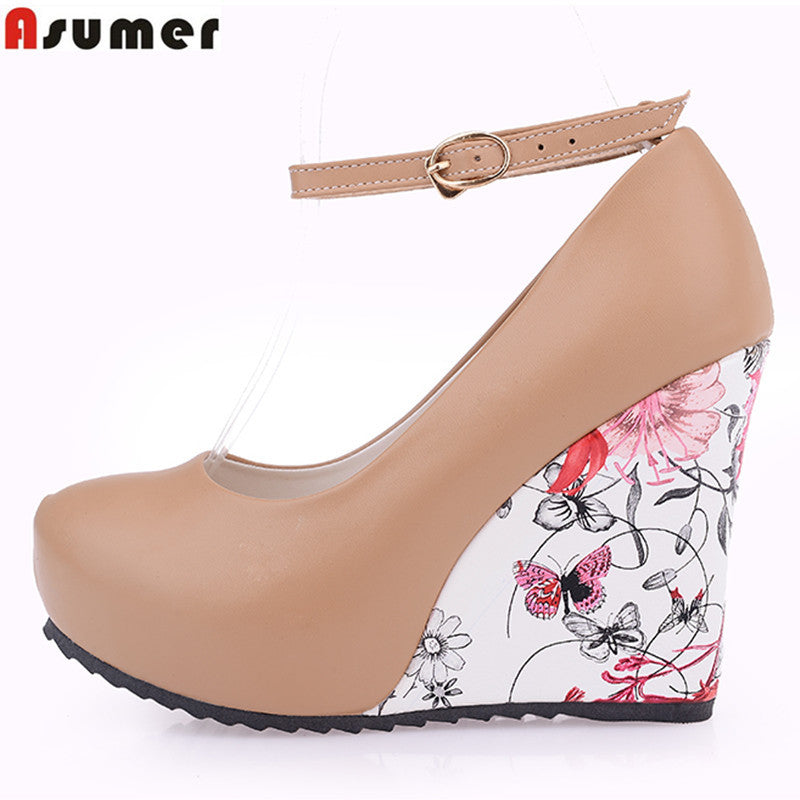 ASUMER Fashion Ankle Strap 2016 High Wedges Platform Summer Pumps