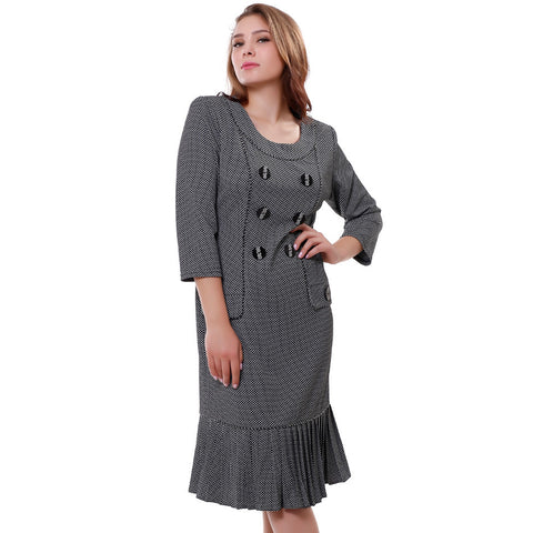 Hot sale Women's dresses Autumn Casual Work dress Small Plaid Vintage Pleated Flounced hem Mid-Calf derss Plus size XL-6XL 99652 - Monika's Dresses