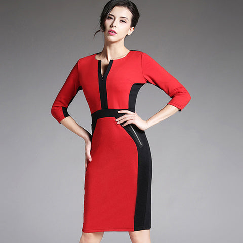 Plus Size Modern Spring Autumn High Quality Half Sleeve Red Blue Color Blocks Patchwork Office Pencil Dress Vestido Feminino 837 - Monika's Dresses