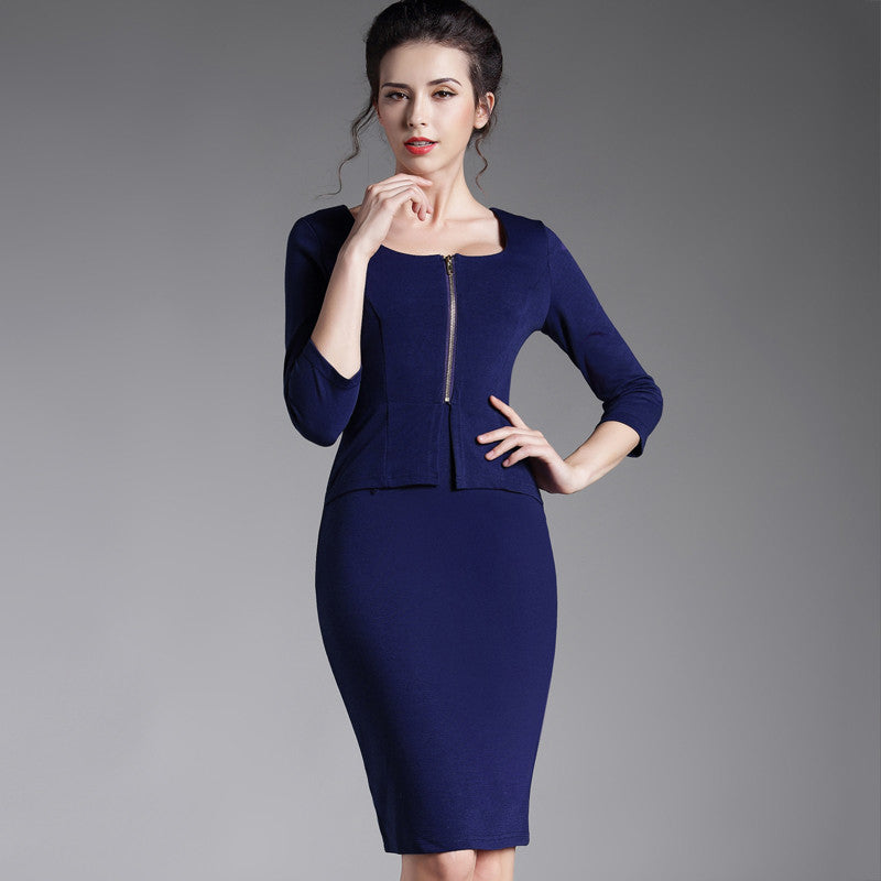 Autumn One-Piece False Set Casual 3/4 Sleeve Pencil Midi Fitted Robe Women Office Dress Blue Square Neck With Zipper 898 - Monika's Dresses
