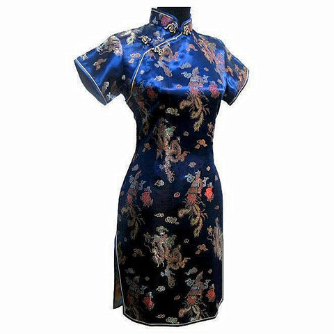 Special Offer Navy Blue Chinese Womens Mini Cheongsam Qipao Dress ropa mujer Dragon Phenix Size M L XL XXL 3XL 4XL 5XL 6XL J3093 - Monika's Dresses