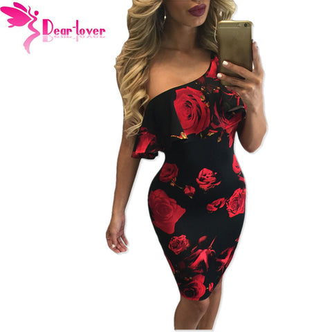Dear Lover One Shoulder Dresses Print Summer Sexy Vintage Women Party clothes Blue Rose Frill Midi Dress Vestido Curto LC61155
