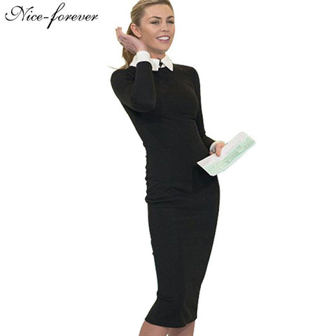 Nice-forever Career Women Autumn Turn-down Collar Fit Work Dress Vintage Elegant Business office Pencil bodycon Midi Dress 751 - Monika's Dresses