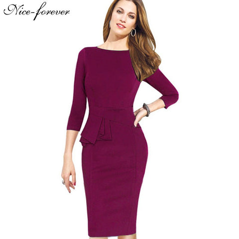 Nice-forever Career Female Peplum Work Dress 3/4 Sleeve O Neck Women Fashion Sheath Elegant Business Bodycon Pencil Dress b228 - Monika's Dresses