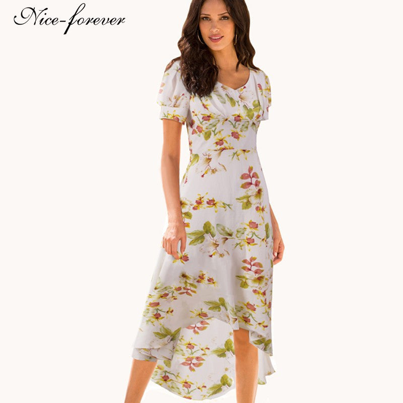 Nice-forever Summer V-Neck Gather Bohemian Beach Print Floral Women Puff Sleeve Irregular length Maxi Long Woman Dress B308 - Monika's Dresses