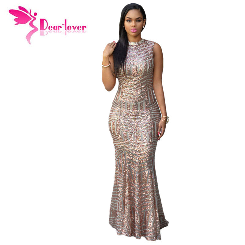 DearLover New Arrival Blush Sequins Keyhole Back Party Gown Pageant