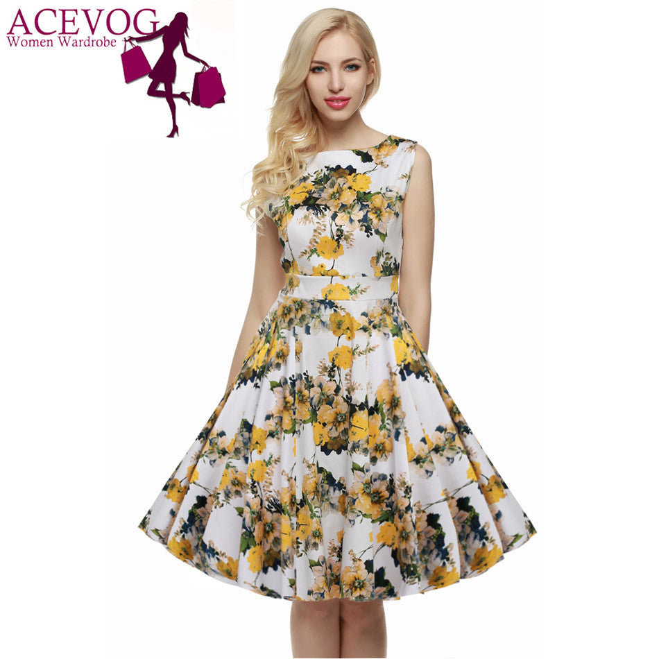 ACEVOG Women Casual Elegant Dress Sleeveless Floral Retro Vintage 1950s 60s Swing Summer Dresses Elegant Tunic Vestidos S - 3XL - Monika's Dresses