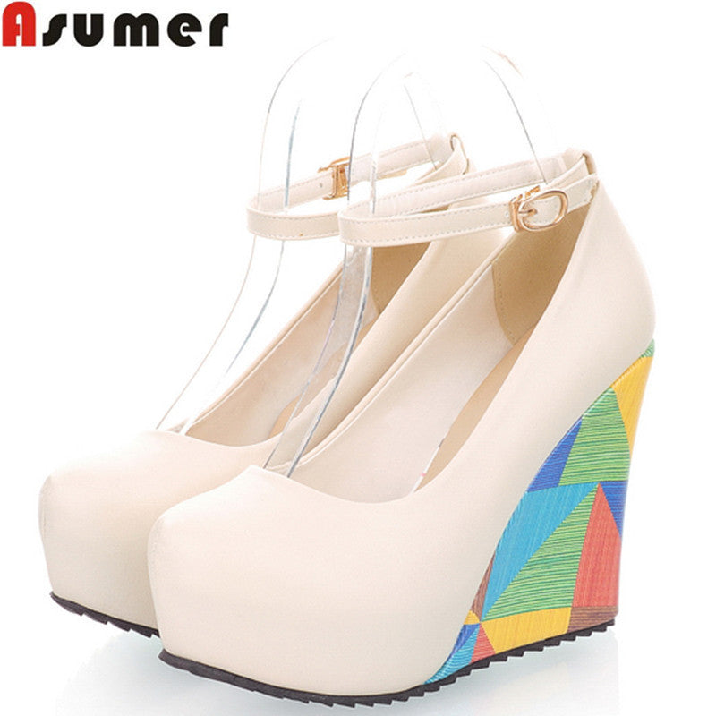 ASUMER 2016 new arrive fashion sexy wedges high heels women pumps PU