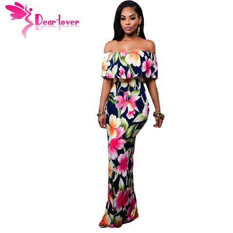 Dear-Lover Off-the-shoulder Maxi Dresses Summer 2016 Holiday Party Navy Blue Roses Print Gowns Vestido Festa Largo Robe LC61189