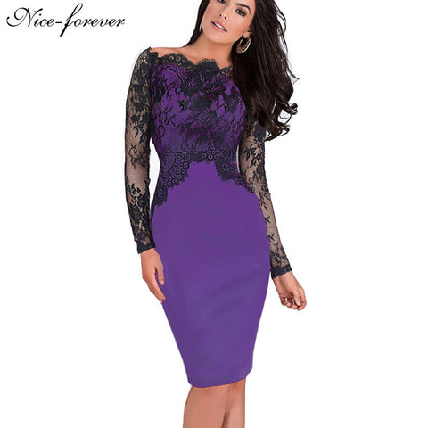 Nice-forever Off-Shoulder Gorgeous Vintage Dress Sexy Slash Neck Lace Top Long Sleeve Zipper Club wear Casual Pencil dress 803 - Monika's Dresses