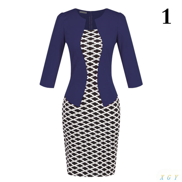 New Fashion Women Dress Sets  Formal Pencil Dress Suits Print Flower
