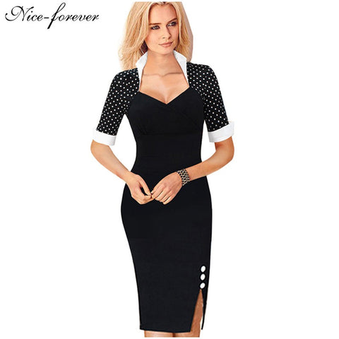 Nice-forever Polka Dots Elegant Women Patchwork Buttons Square Neck Sheath Dress business Wear to Work Split Pencil dresses b47 - Monika's Dresses