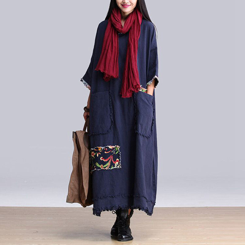 Autumn and Winter Dress Blue Color Cotton Linen Dress Long Sleeve Maxi Dress Casual Loose Long Robe Plus Size Women Clothing - Monika's Dresses