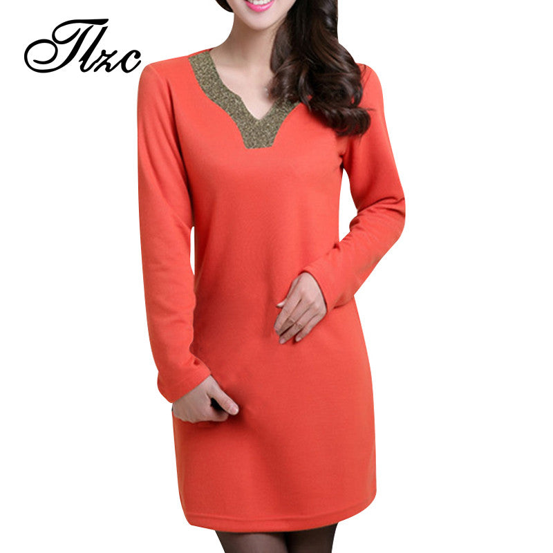 Appliques Collar Lady Dress Big Size L-4XL Super Quality Solid Color Long Sleeve Design Charm Woman A-Line Mini Dresses - Monika's Dresses