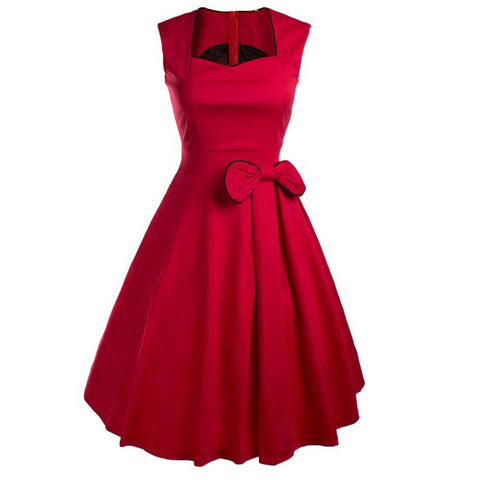 Vestidos Women Summer Dress Vintage Retro Party Robe Rockabilly 50s Classic Pleated Bow Dresses New Womens Clothing - Monika's Dresses