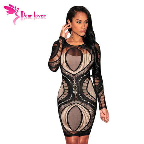 BlackFriday 5 Color 2015 Vestido de festa Women Royal Blue Lace Nude Illusion Long Sleeve Bodycon Dress Vestido de Renda LC22136 - Monika's Dresses
