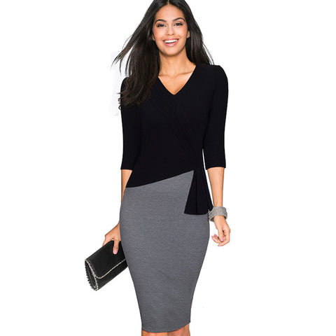 Women Casual Wear To Work Office Sheath Fitted Pencil Dress Autumn Elegant Classy V Neck Patchwork Bodycon Dresses EB333