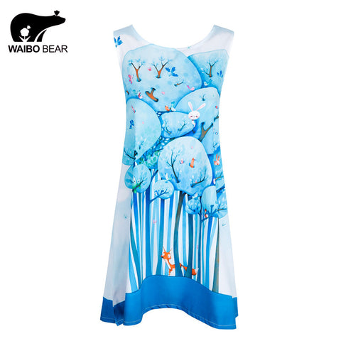 European Design Ladies Chiffon Kawaii Blue Forest Print Above Knee Casual Club Dresses For Women Vestidos Mujer WAIBO BEAR - Monika's Dresses