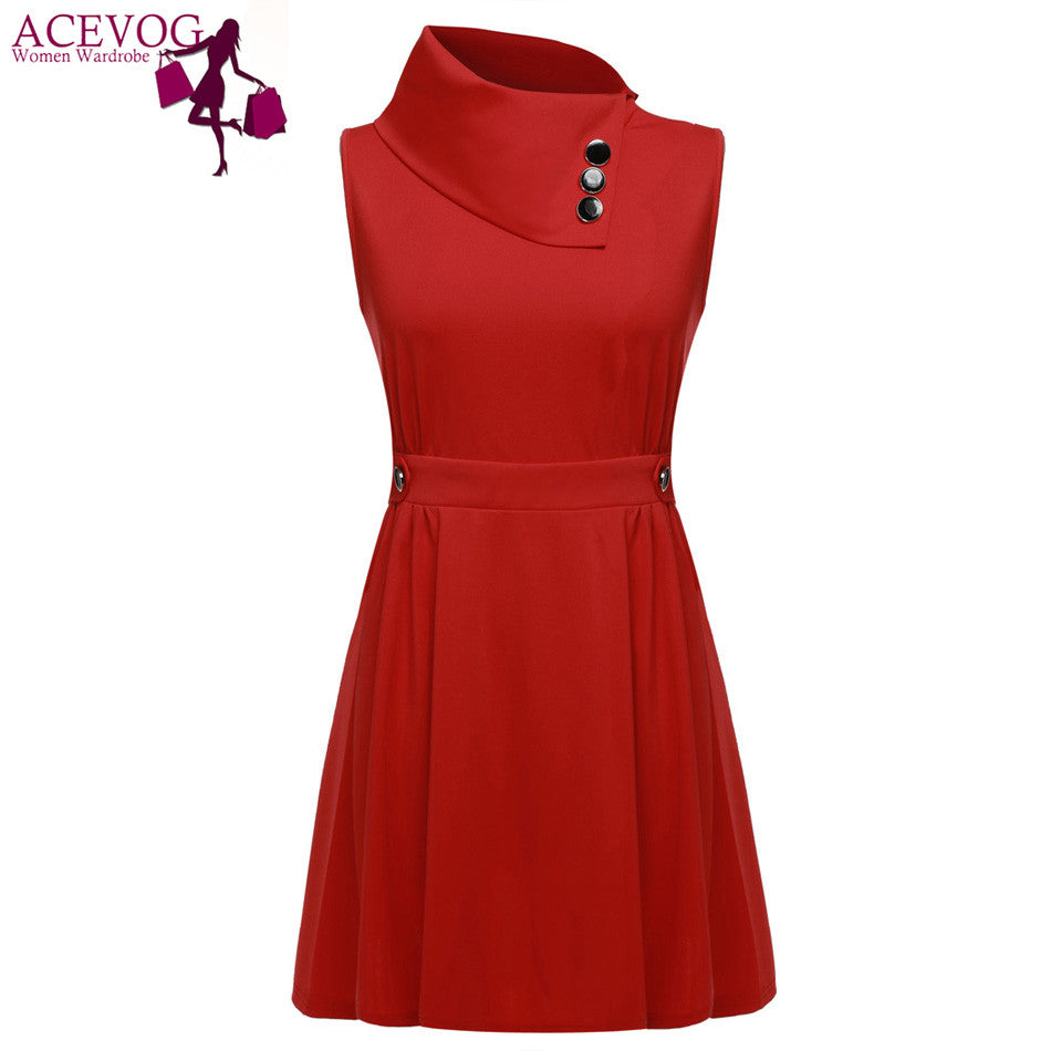 ACEVOG Women Button Dress 2016 Summer vestido de festa Sleeveless Casual Elegant Mini Dress Tunic Dress Red, Dark Blue, Black - Monika's Dresses