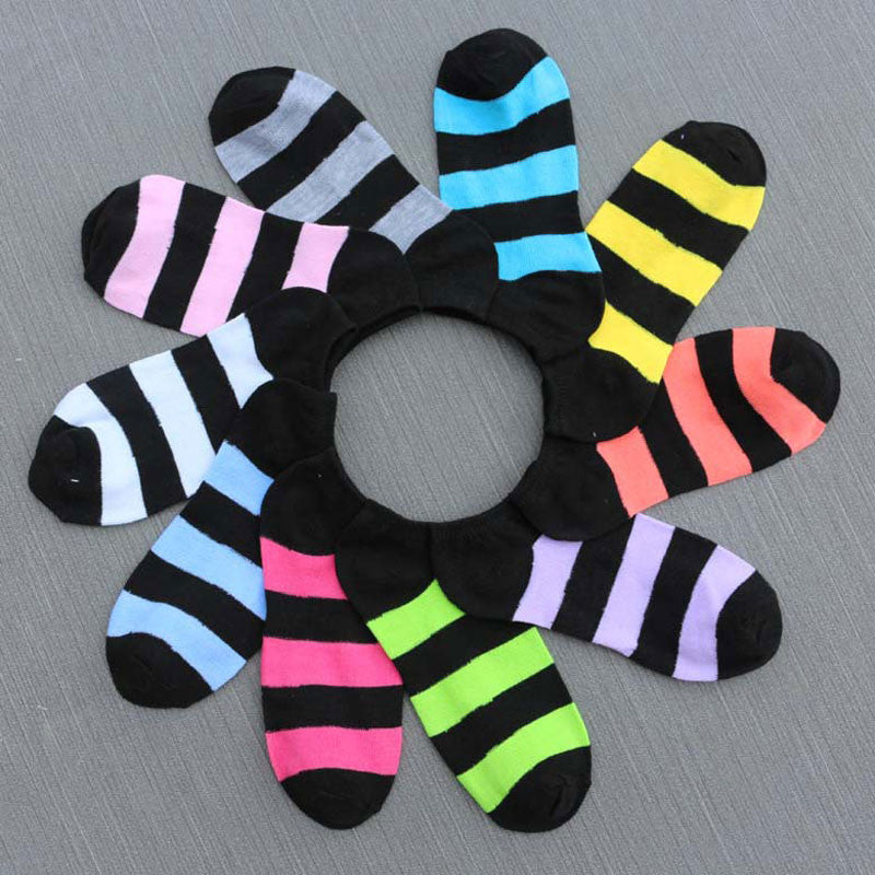 3pair=6pcs Candy Color Striped Women's Socks Cute Short  Socks Ankle
