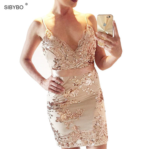 Julissa Mo 2016 Vestidos Women Summer Dresses Elegant Sexy V Neck Vintage Gold Sequined  Evening Bandage Bodycon Party Dress - Monika's Dresses