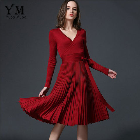 YuooMuoo European Design Elegant Autumn Dress V-neck Women Casual Long Sleeve Knitted Dress Brand Fashion Pleated Ladies Dreses - Monika's Dresses