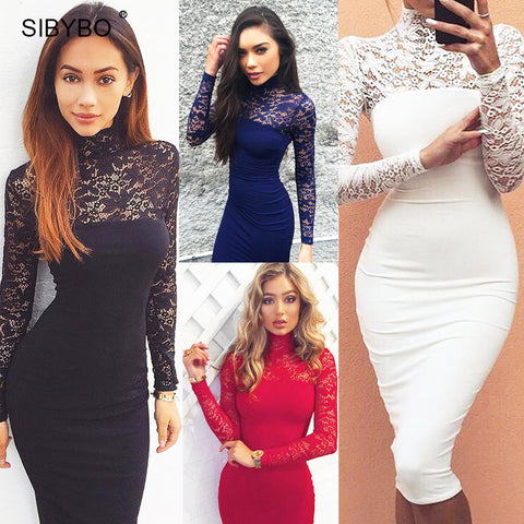 Julissa Mo 2016 Autumn Summer Women Dress Fashion Long Sleeve Vintage Lace Patchwork Sexy Bodycon Bandage Party Club Dresses - Monika's Dresses