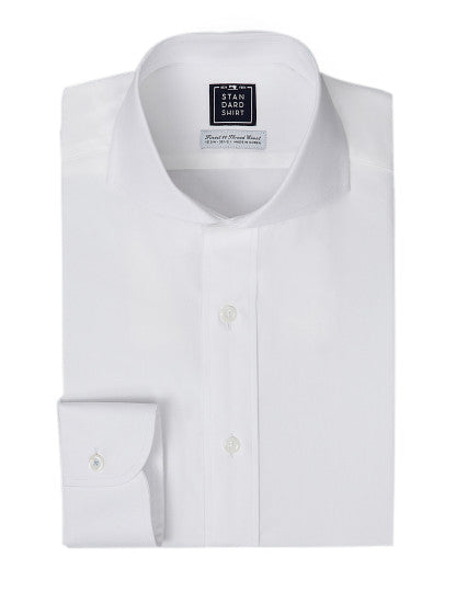 Cutaway Wide Collar White Dress Shirt | Mens Shirts | Standard Shirt