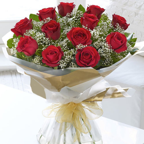 SAME DAY DELIVERY: 12 RED ROSES + VASE!